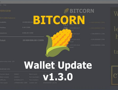 BITCORN Wallet Update v1.3.0
