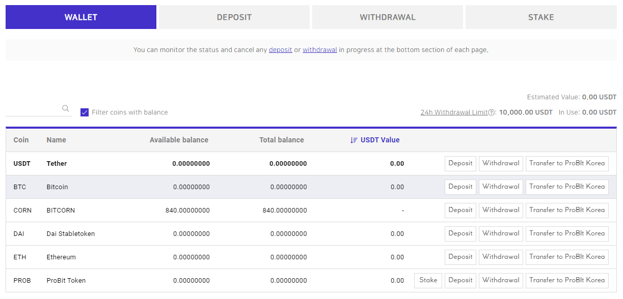 BITCORN ProBit Deposited