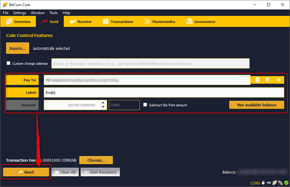 Depositing BITCORN on the ProBit Exchange